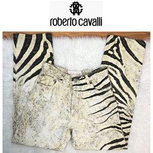 Roberto Cavalli VTG Ivory Zebra Print Denim S